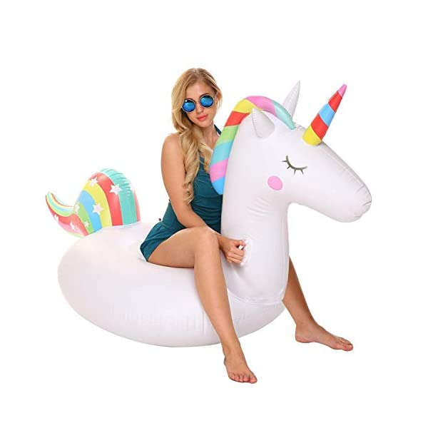 YAze Inflatable Unicorn Pool Float Animal Balloon Pool Tube Fun Beach Floaties Summer Pool Raft Lounge Swim Party Sports… 3