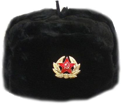 Hat Russian Soviet Army Black KGB * Fur Military Cossack Ushanka * Size M (Soviet Army Hat)