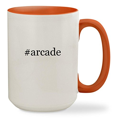 #arcade - 15oz Hashtag Colored Inside & Handle Sturdy Ceramic Coffee Cup Mug, Orange