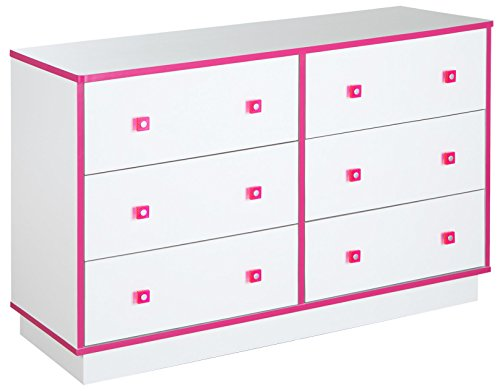 - South Shore Logik 6-Drawer Double Dresser, Pure White and Pink, Pure White/Pink
