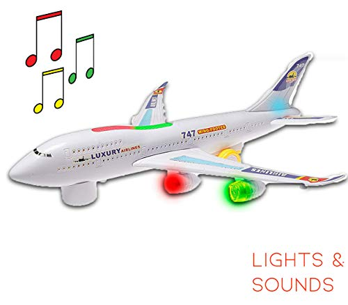 Hoovy Boeing 747 Model Airplane Toy for Kids Electric Airplane with Lights and Sounds Bump and Move Big Airplane for Kids 2 3 4 5 6 7 Years Old