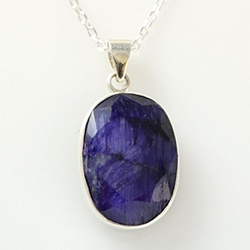 Sterling Silver Oval Genuine Faceted Blue Sapphire September Birthstone Handmade Pendant 16+2'' - Gem Sapphire Blue Genuine Oval