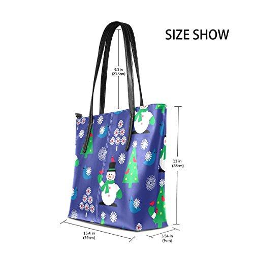 Totes TIZORAX Handle Shoulder Fashion Women's Blue Christmas Snowman Top Bags Flower Purses Leather Bird PU Handbag rxPg6qwrf