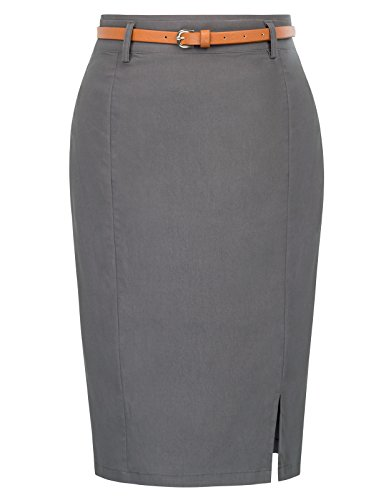 Kate Kasin Sexy Stretchy Hip-Wrapped Skirt For Women Slim Fitted Size M Dark Grey KK856-2 (Zipper Skirts Slim)