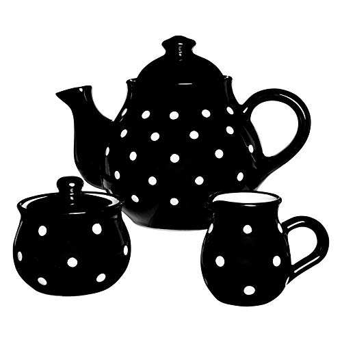 - City to Cottage Handmade Black and White Polka Dot Large Ceramic 1,7l/60oz/4-6 Cup Teapot, Milk Jug, Sugar Bowl Set, Pottery Tea Set, Housewarming Gift for Tea Lovers