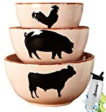 Gift Included- Country Farmhouse Kitchen Mixing Barnyard Animal Bowls Set of 3 + FREE Bonus Water Bottle by Home Cricket