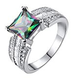 Coco-Z New Women Simple Square Colorful Zircon Ring Fashion Creative Jewelry, Overseas Import Products Specialty Store