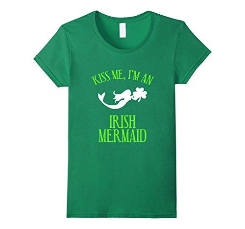 [Women's FUNNY KISS ME IM AN IRISH MERMAID T-SHIRT Magical Gift Medium Kelly Green] (Kiss Me Im Irish Costume)
