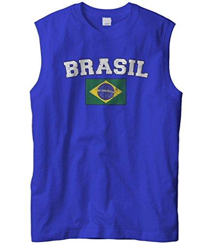 Cybertela Men's Faded Distressed Brasil Brazil Flag Sleeveless T-Shirt (Royal, (Brazil Sleeveless)