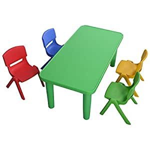 Amazon.com: Giantex Kids Plastic Table and 4 Chairs Set ...