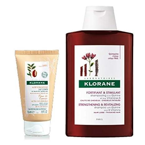 Klorane Champú de Quinina y Vitaminas B 400ml + Oferta Leche de Cuerpo Flor de Cupuaçu 75 ml: Amazon.es: Belleza