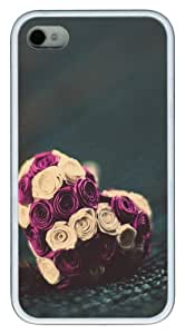 Roses heart TPU Silicone Back Case Cover for iPhone 4/4S White