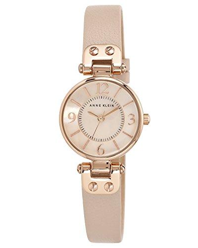 Anne Klein – Reloj para mujer, con correa de cuero de color rosa