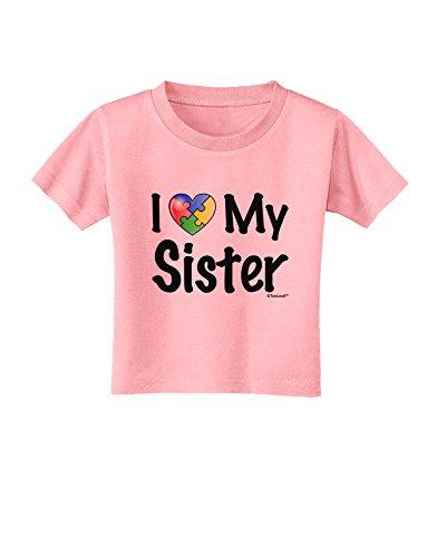 TooLoud I Heart My Sister - Autism Awareness Toddler T-Shirt - Candy Pink - 4T ()