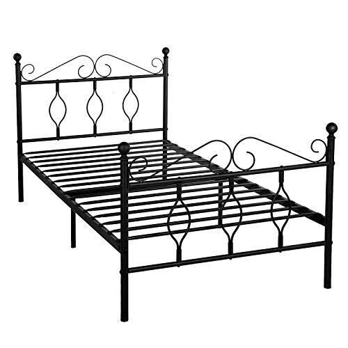GreenForest Twin Bed Frame Metal Platform Complete Bed with Headboard and Footboard No Box Spring Needed, ()