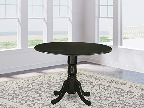 East West Furniture Round Table with Two 9-Inch Drop Leaves (Wood Dining Table Small)