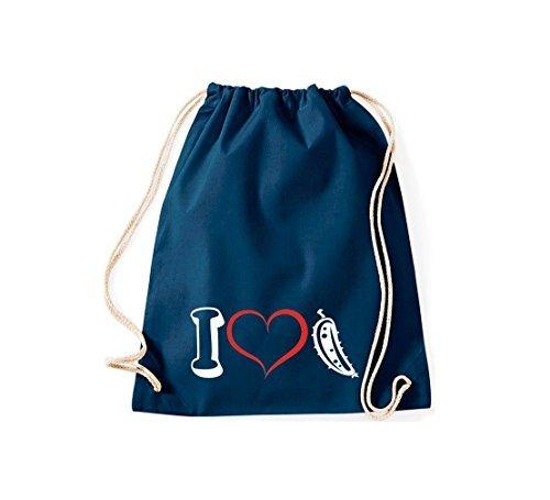 Shirtstown Bolsa de deportes Verduras I love Pepino de ensalada pepino Azul
