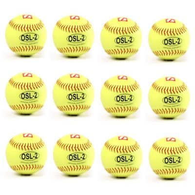OSL-2 high competition softball ball, size 12, yellow, 1 dozen, barnett size 12