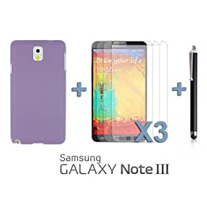 OnlineBestDigital - Frosted Surface Hard Back Plastic Case for Samsung Galaxy Note 3 N9000 - Purple with 3 Screen Protectors and Stylus