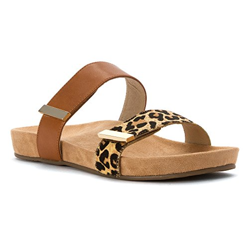 Vionic Womens Grace Jura Leather Sandals Tan Leopard