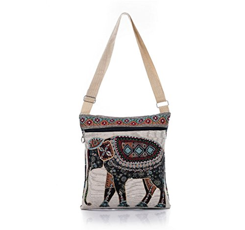 Nawoshow Bohemian Owl / Elephant Embroidered Pattern Shoulder Bag Crossbody Bag Messenger (Embroidered Shoulder Messenger Bag)