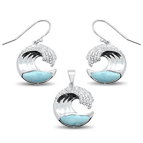 - Sterling Silver Natural Larimar & Cz Ocean Wave Design Earring & Pendant Set