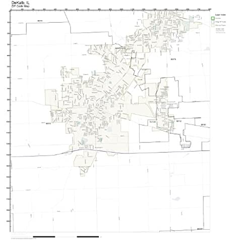 Dekalb Zip Code Map.Amazon Com Zip Code Wall Map Of Dekalb Il Zip Code Map Not