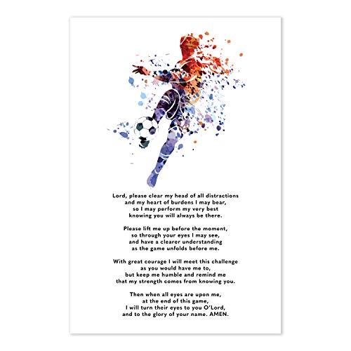 Soccer Prayer Poster - Christian Athlete Gift -