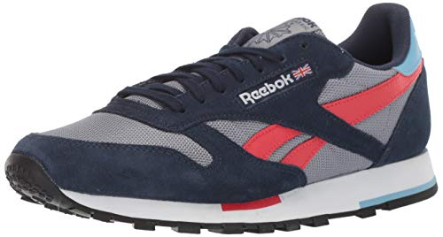 (Reebok Men's Classic Leather Sneaker, Cold Grey/Collegiate Navy/White/Primal red/Blue/Black, 11.5 M)