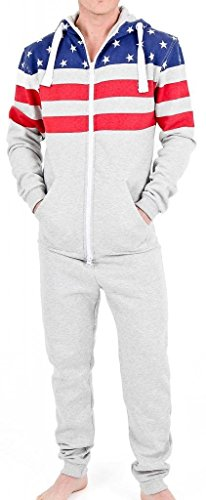 Suit Onesie Mens (SkylineWears Men's Fashion Onesie Hooded Jumpsuit One Piece non Footed Pajamas Ushalf Gray)
