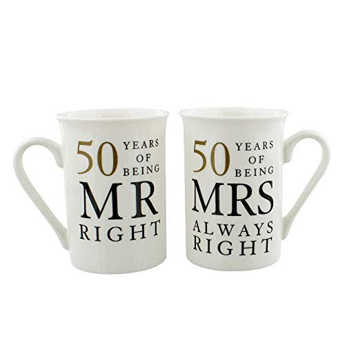 Happy Homewares Ivory 50th Anniversary Mr Right & Mrs Always Right Mug Gift Set -
