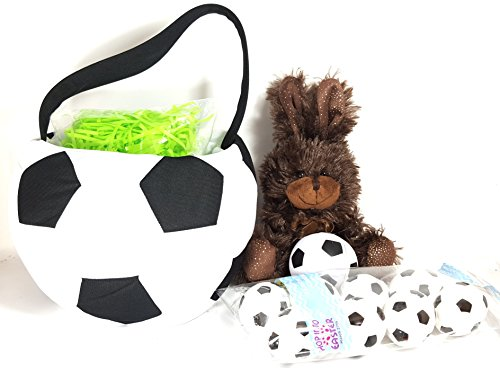 Soccer Plush Sports Easter Gift Bucket Set with Bunny, Grass, Toy Soccer Ball, and 8 Soccer Themed Fillable Plastic Eggs]()