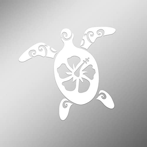 5.5-Inches by 5-Inches Premium Quality White Vinyl CMI DD497 Hibiscus Turtle Decal Sticker