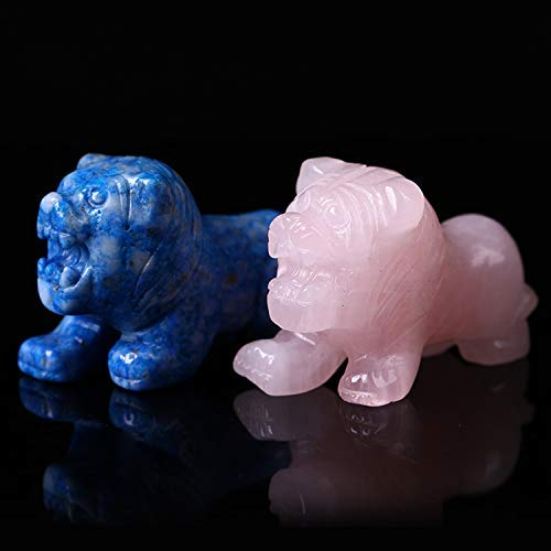 Yun yang Lapis Lazuli Crystal Figurine Statue Lion,Natural Healing Crystal Carved Gemstone Stone,Pocket Sculpture Lion - Gemstone Yang