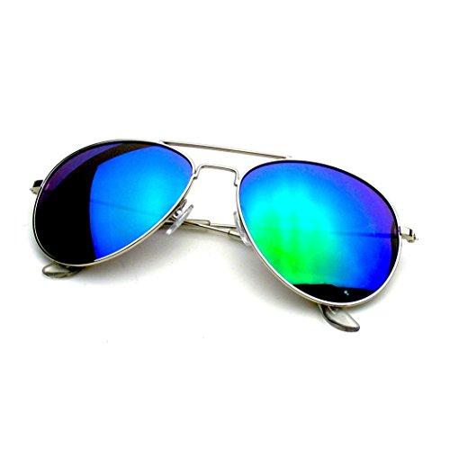 Emblem Eyewear - Premium Classic Metal Frame Reflective Revo Mirror Lens Aviator Sunglasses (Silver Green - Authentic Discount Sunglasses Designer
