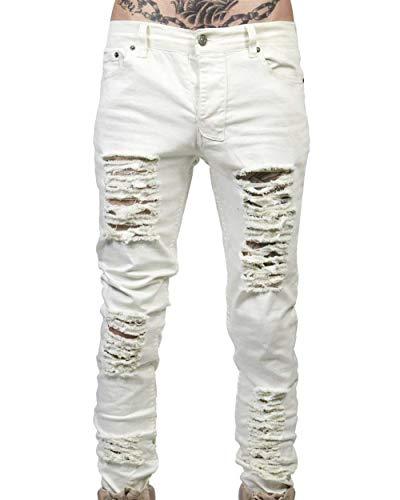 Slim En Pantalones Hombres Pantalones La Jeans Rodilla con Vaqueros Grietas Destruidos Los Clubwear white Grau Superplanos De Streetwear En Decolorados Fit ZwqqB8fY