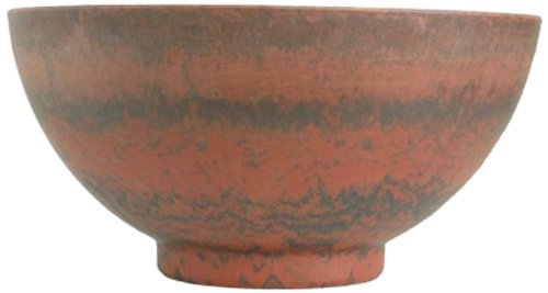 Listo Premium Horizon Fiber Clay Pedestal Bowl, 16-Inch, Fireball Red