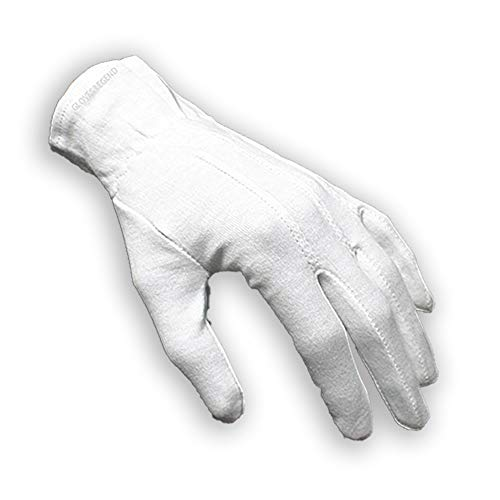 1 Pair (2 gloves) Gloves Legend 100% White Cotton Marching Band Parade Formal dress gloves - Size Medium (Medium) -