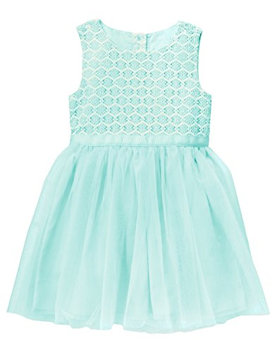 Gymboree Baby Toddler Girls' Lace Dress With Tulle, Icicle Blue, (Girls Icicle)
