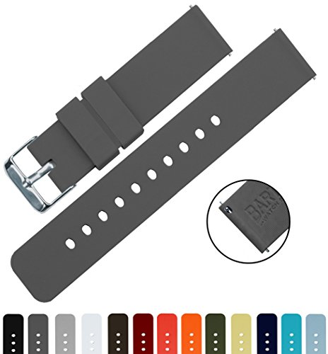 BARTON Silicone Quick Release - 24mm Width - Choice of Color - Smoke Grey 24mm Watch Band Strap