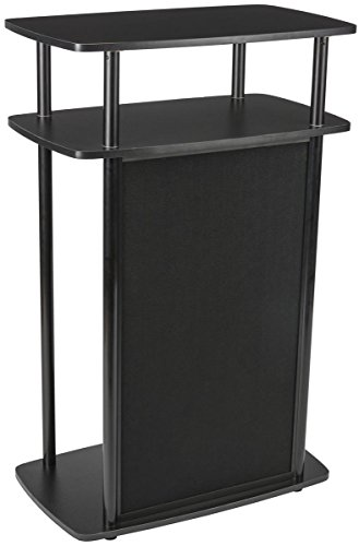 Tabletop Trade Show Booths - Displays2go Mobile Counter for Trade Shows, Hook & Loop-Receptive, MDF, PVC, Aluminum - Black (CNTRCTBLK)