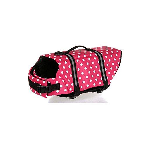 Dog Lifejackets,LANDGOO Dog Life Vest Jacket Swimsuit Preserver Aquatic Safety Coat for Swimming Boating Hunting Polka Dot S