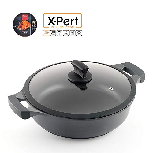 Metaltex 3105520000 XPERT-Cast Aluminium Low Casserole, 30 cm, Non-Stick ILAG 3 Layers, Full Induction Suitable for All Cookers (Casserole Cast)