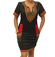 shekiss Women's Bohemian Dashiki African Vintage Print Club Midi Bodycon V-Neck Dress
