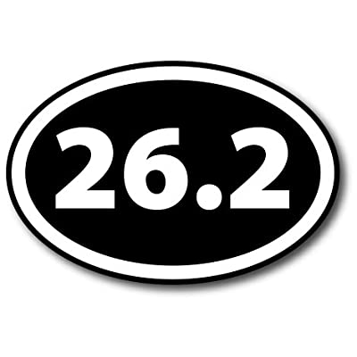 26.2 Marathon Inverted Black Oval Car Magnet Decal Heavy Duty Waterproof: Automotive