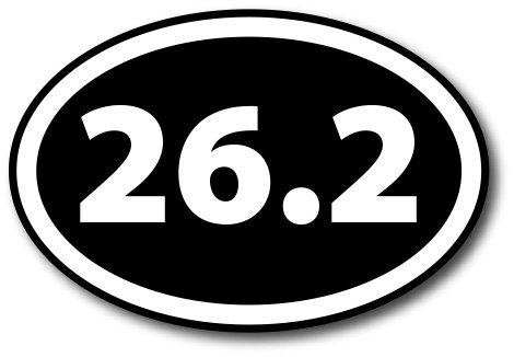 26.2 Marathon Inverted Black Oval Car Magnet Decal Heavy Duty (Oval Car)