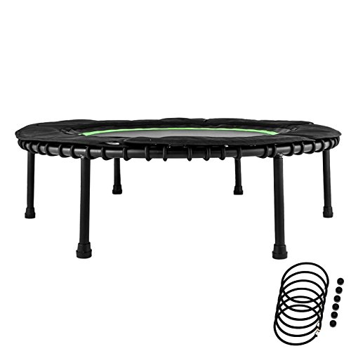 "ShareProfit 40"" Fitness Trampoline 330lbs Holding Capacity Portable Exercise Trampoline with Latex Rubber Bungees Elastic Jump Mat Bungee Rebounder Mini Trampoline"