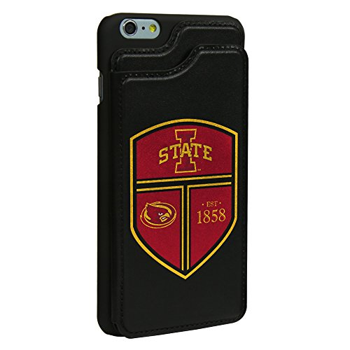 Iowa State Cyclones Guard Dog Leather Wallet Case for iPhone 6 Plus / 6s Plus with Guard Glass Screen Protector - State Leather Iphone Case