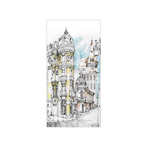 (3D Decorative Film Privacy Window Film No Glue,Medieval Decor,Pale Sketch Design of Middle Age Renaissance Building in European Old Town Cityscape,Multi,for Home&Office)