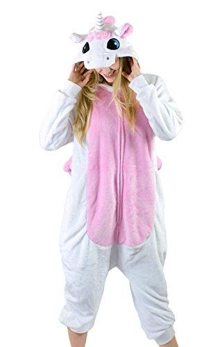 Cute Furry Animal Costumes (Adult Onesie Unicorn Kigurumi Pajamas (Medium, Classic Pink Plush))
